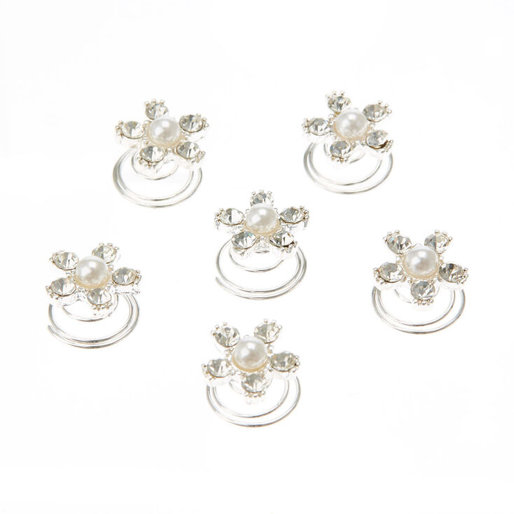 Faux Pearl & Crystal Style Star Hair Spinners,