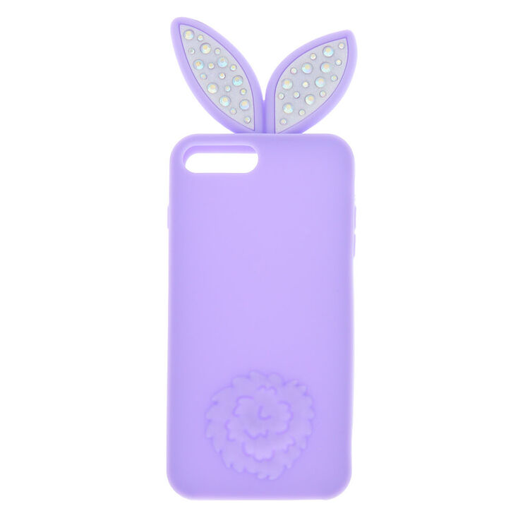 new styles c2a6f dab01 Bling Bunny Ears Silicone Phone Case - Fits iPhone 6/7/8 Plus