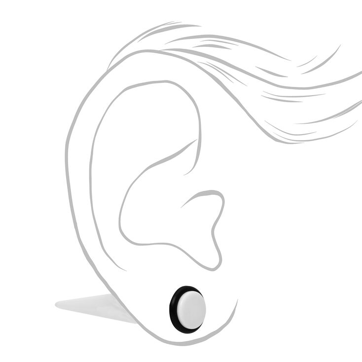 White Mixed Faux Plug Stud Earrings - 2 Pack,