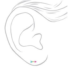 Silver Anodized Rainbow Arrow Stud Earrings,