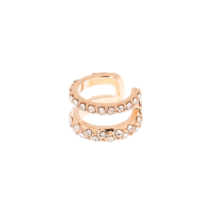 Rose Gold Crystal Double Row Ear Cuff Earring,