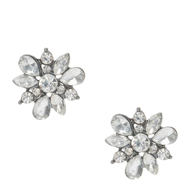 78f72cd1c Silver Glitter Flower Hematite Stud Earrings | Claire's