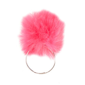 Bright Pink Pom Pom Ring,