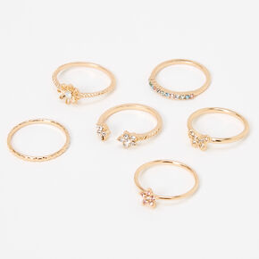 Gold Butterfly Star Rings - 6 Pack,