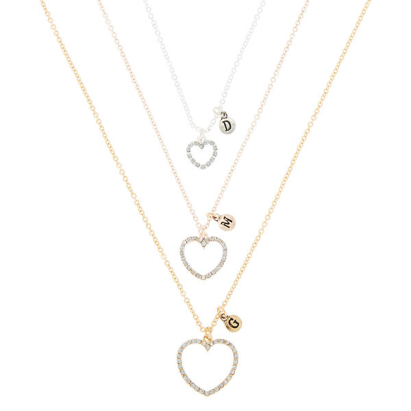 Claire's - mixed metal three generation heart pendant necklaces - 1