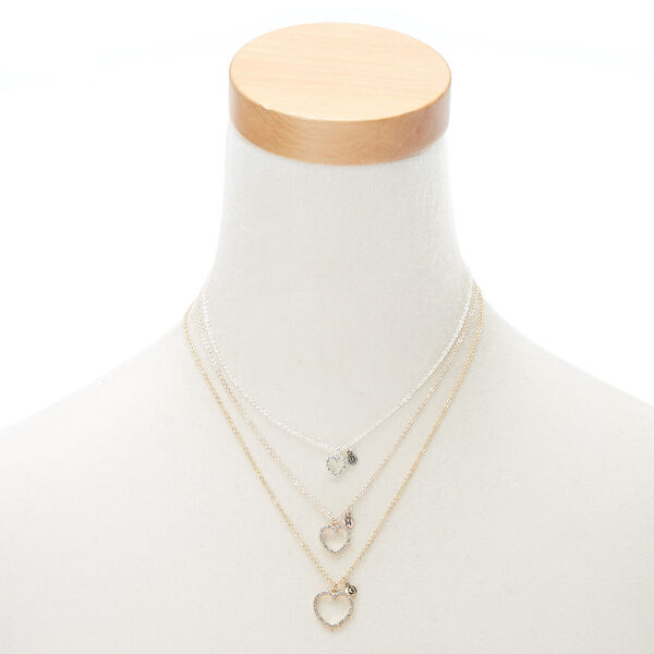 Claire's - mixed metal three generation heart pendant necklaces - 2