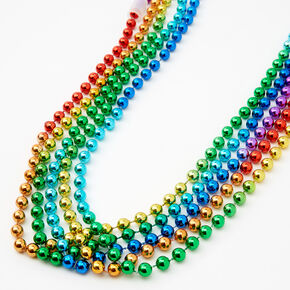 Rainbow Beaded Necklace Set - 5 Pack,