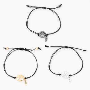 Mixed Metal Paw Cut Out Adjustable Friendship Bracelets - 3 Pack,