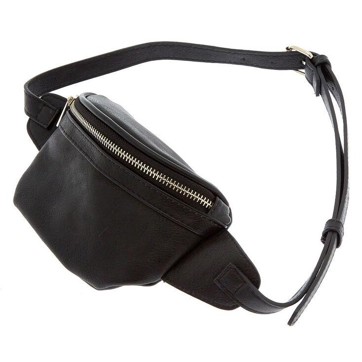 Faux Leather Bum Bag - Black,
