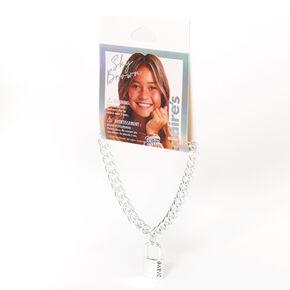 Sky Brown™ Padlock Chain Bracelet – Silver-tone,