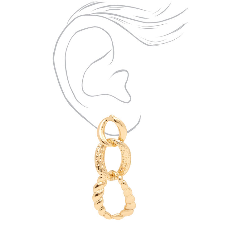 """Gold 2"""" Textured Chain Link Drop Earrings,"""