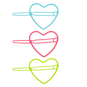 Claire's Club Neon Heart Hair Clips - 3 Pack,