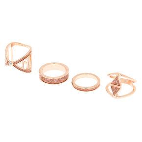 Rose Gold Glitter Geometric Rings - Rose Gold, 4 Pack,