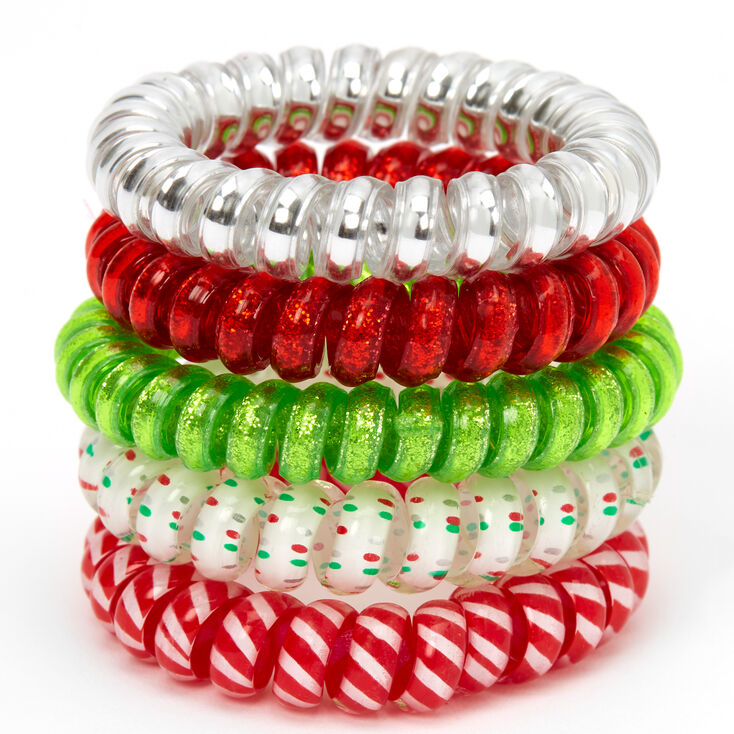 Holiday Spiral Hair Ties - 5 Pack,