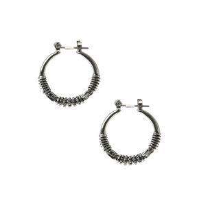 Hematite 25MM Bali Hoop Earrings,