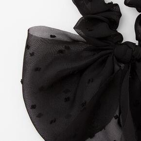 Dotted Organza Bow Hair Scrunchie - Black,