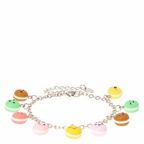Bracelet couleur argenté à breloques macarons,