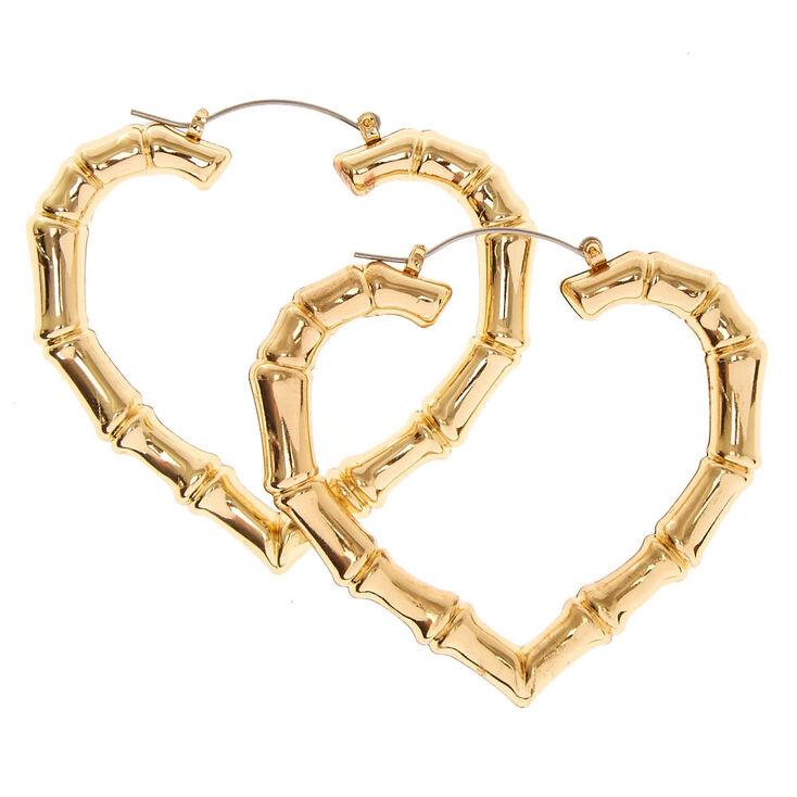 7e488503e 60MM Gold-tone Heart Shaped Bamboo Hoop Earrings | Claire's US