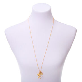 Gold Cowrie Shell Long Pendant Necklace,