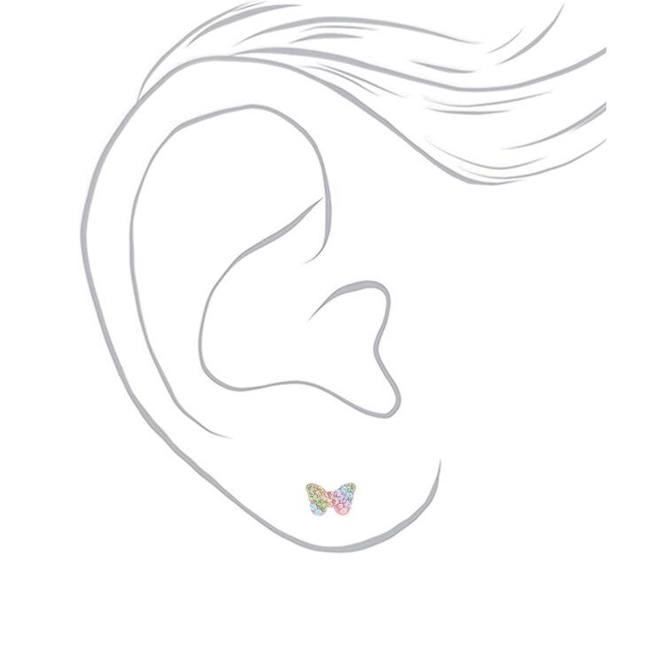Sterling Silver Pastel Crystal Butterfly Stud Earrings,