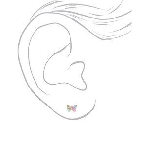 Clous d'oreille papillon avec strass pastel en argent,