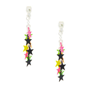 Neon Star Drop Clip On Earrings,