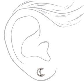 Silver Titanium Open Moon Stud Earrings,