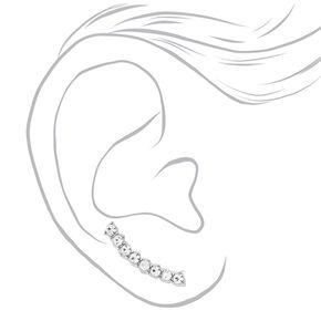 Bijou d'oreilles barre de fausses pierres en strass incurvée couleur argenté,