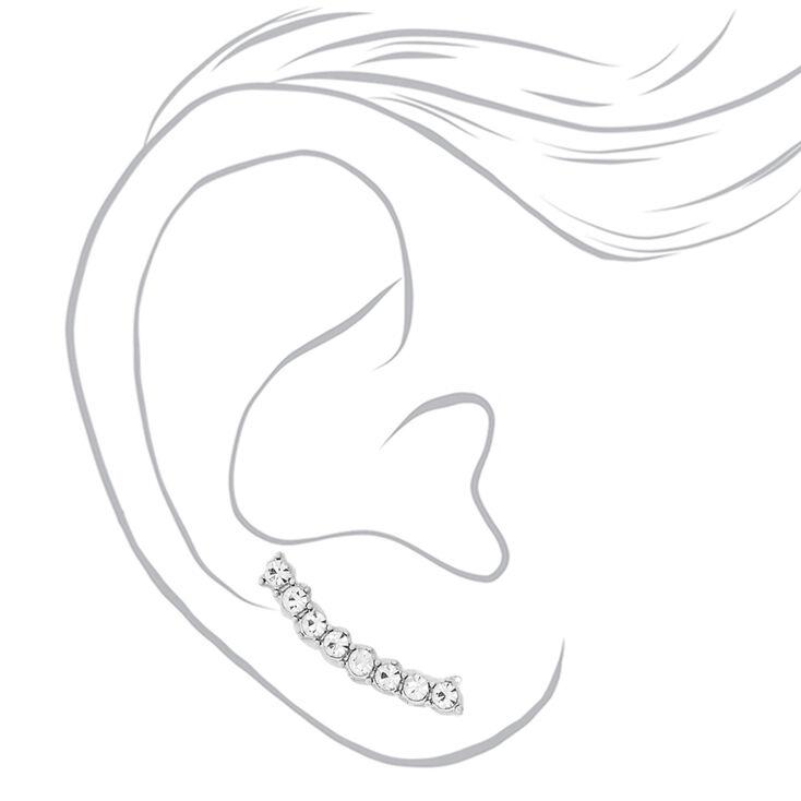 Silver-tone Curved Faux Crystal Bar Ear Crawlers,