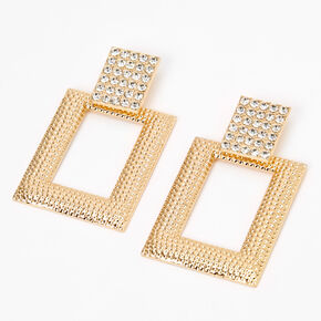 "Gold 2.5"" Crystal Rectangle Door Knocker Drop Earrings,"