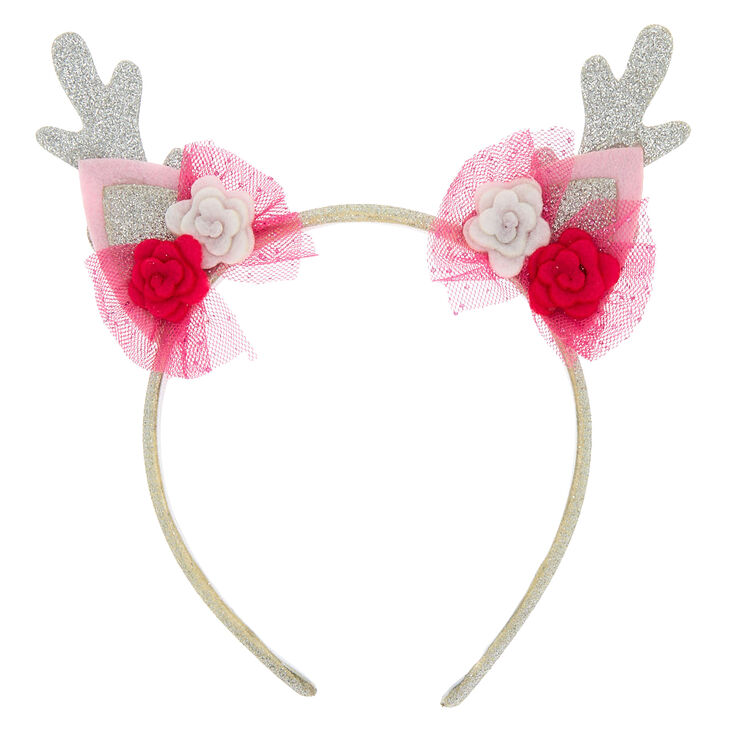 Claire's Club Deer Antlers Headband - Pink,