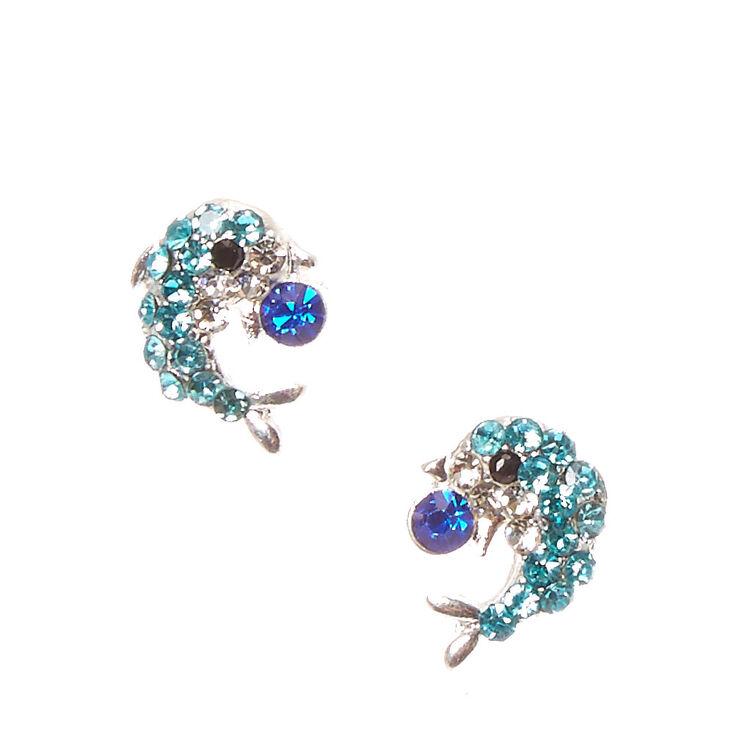 Clous d'oreilles bleus à motif dauphin en strass,
