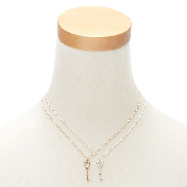 Mixed Metal Best Friends Key Pendant Necklaces - 2 Pack,