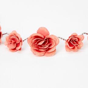 Couronne de fleurs avec roses pailletées - Rose poudré,