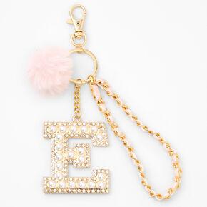 Gold Bling Initial Pom Pom Keyring - Pink, E,