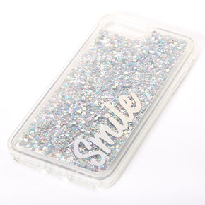 Smile Silver Glitter Liquid Fill Phone Case - Fits iPhone 6/7/8 Plus,