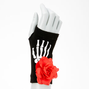 Day Of The Dead Skeleton Short Arm Warmers - Black,