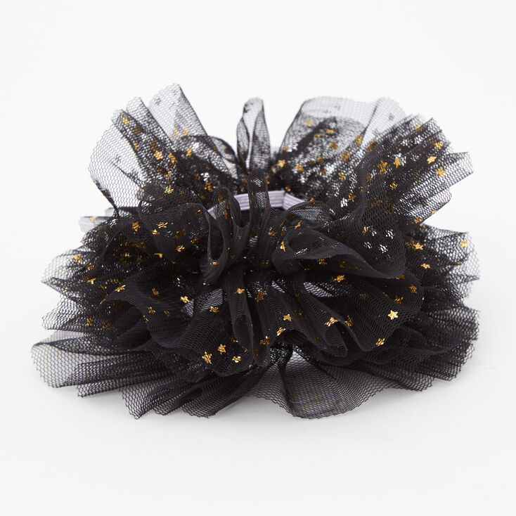 Claire's Club Small Star Tulle Hair Scrunchies - Black, 2 Pack,