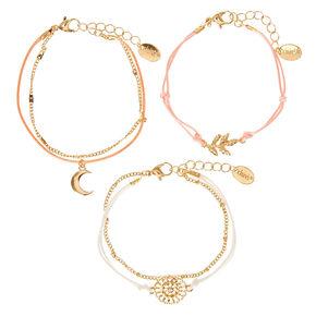 Gold Dainty Leaf Moon Bracelets - 3 Pack,