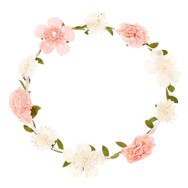 couronne de fleurs en crochet rose et blanc pour enfants. Black Bedroom Furniture Sets. Home Design Ideas