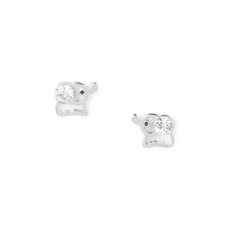 Crystal Elephant Stud Earrings,