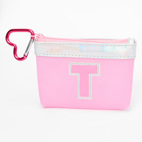 Pink Initial Coin Purse - T,