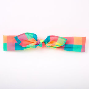 Neon Rainbow Gingham Knotted Bow Headwrap,