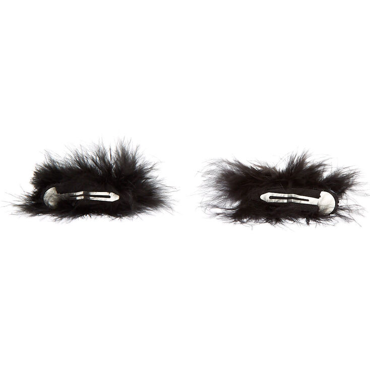 Feather Glitter Cat Ear Snap Hair Clips - Black, 2 Pack,
