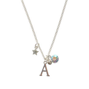 Crystal A Initial Charm Necklace,