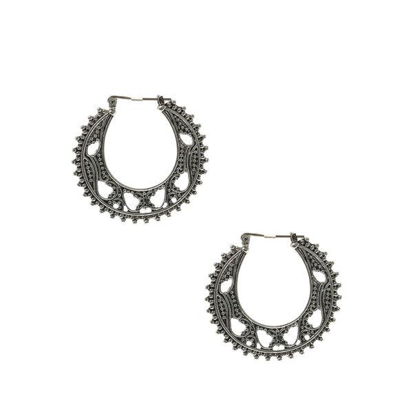 Claire's - hematite 35mm filigree hoop earrings - 1