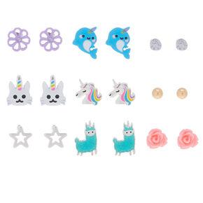 Uni-Animal Stud Earrings - 9 Pack,