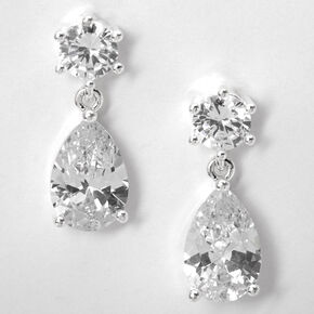 "Silver 1"" Cubic Zirconia Teardrop Drop Earrings,"