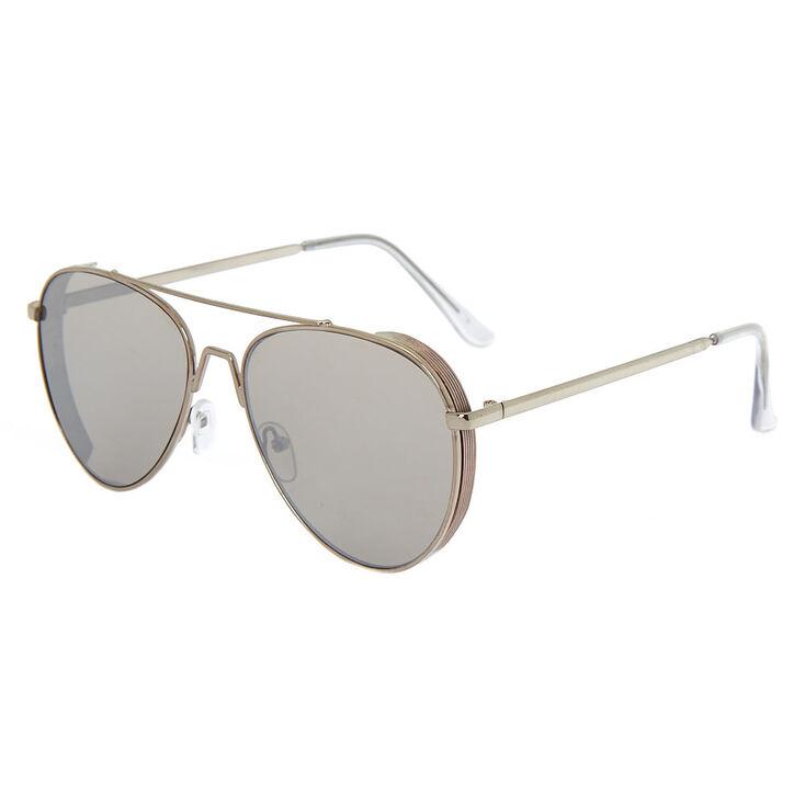 Metal Frame Aviator Sunglasses - Silver | Claire\'s US
