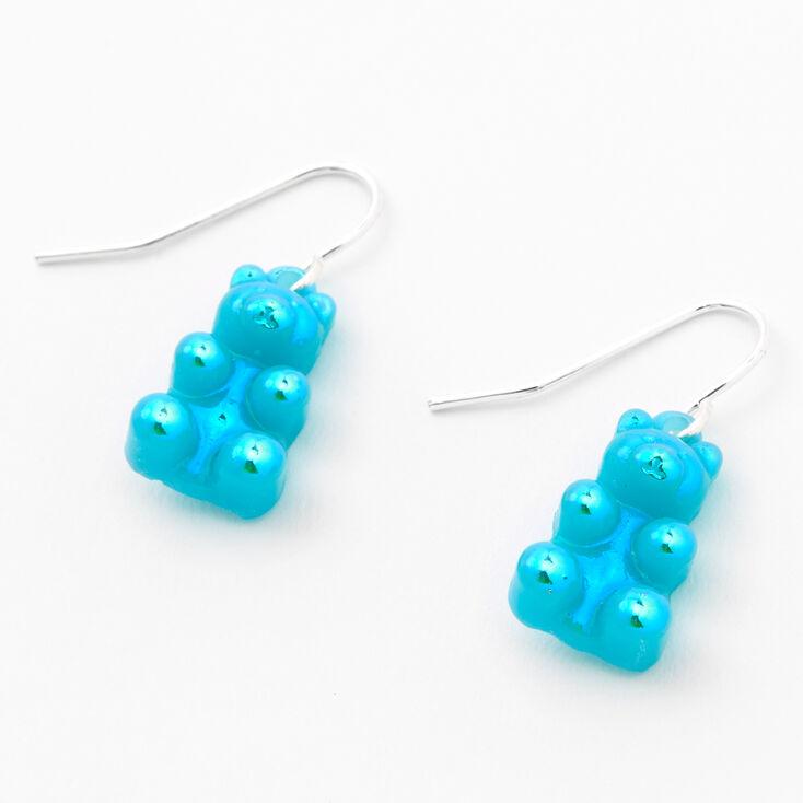 """Silver 0.5"""" Gummy Bear Drop Earrings - Turquoise,"""